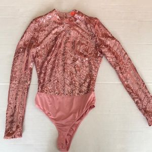 Banjul pink sparkly sequin body suit size S